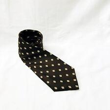 All Silk Designer Collection Tie Brown Foulard Print Skinny Italy Necktie Vtg