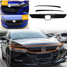 FOR 2018 2019 HONDA ACCORD GLOSSY BLACK FRONT GRILL MOLDING TRIM + EYELID COVER
