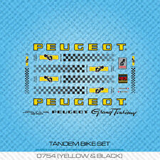 Peugeot Tandem Bicycle Decals - Transfers - Stickers - Yellow & Black - Set 754