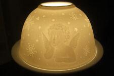 """Dome Lights """"Engel"""" Fein-Porzellan Relief-Design Teelichthalter Landhaus"""