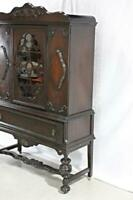 19th C Antique Mahogany China Cabinet Breakfront Bookcase Cupboard Jacobean