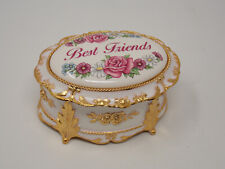 """""""Best Friends"""" Oval Metal Music Box - Tune: """"That's What Friends are For"""""""