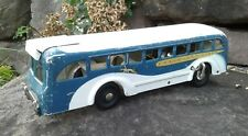 VINTAGE BUDDY L GREYHOUND LINES WIND UP PRESSED STEEL TOY CITY BUS WORKING COND.