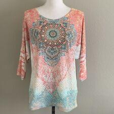 Reba Size L Jeweled Lace Overlay Dolman Sleeve Top