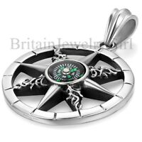 Mens Stainless Steel Vintage Round Compass Pendant Necklace w/Free Chain 22""