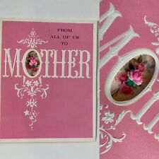 Vintage 3d cut out Happy Mother's Day Greeting Card Flowers pink