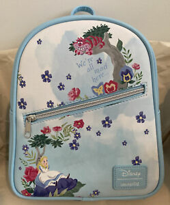 Loungefly Disney Alice in Wonderland Garden Flowers Cheshire Cat Mini Backpack