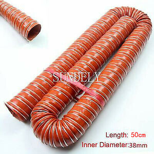 Flexible Air Ducting Hot Cold Transfer Brake Feed Intake Pipe Orange 38mm x 50cm
