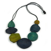 Geometric Wood Bead Black Cotton Cord Necklace in Blue/ Olive/ Teal - 80cm Long