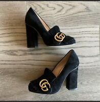 GUCCI MARMONT BLACK SUEDE FRINGE GG High BLOCK HEEL 408208 Size 34/ US 4