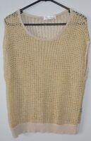 REDBERRY Top Sz Medium large 12 14 Gold Cream Cotton Crochet Knit Blouse