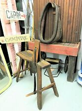 Antique Primitive Saddle Maker's Bench with Horse Collar
