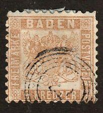Baden stamp #23a, used, perf. 10, 1864, 9kr bister, German State,  SCV $90