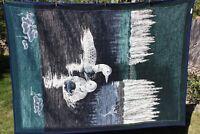 """Vintage Biederlack Ducks Loons Throw Blanket Blue Green Reversible 54"""" x 75"""""""