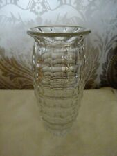 Vintage retro Patterned Glass Chunky Jacobean Vase 23cm Tall