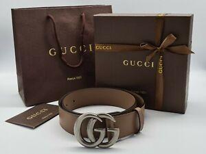 Gucci beige belt, silver tone buckle – 1.5 inches (38mm) width