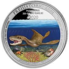 Kongo 20 Francs 2020 Prehistoric Life (2.) Plesiosaurus in Farbe 1 Oz Silber ST