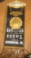 P.O.S. of A. Washington Camp No. 625 Aaronsburg,Pa. Badge & Ribbon
