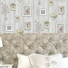 SHABBY CHIC FRAME WALLPAPER WINDSOR WALLCOVERINGS NEW HEARTS FLOWERS WOOD PANELS