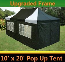 10'x20' Pop Up Canopy Party Tent - Black White - F Model Upgraded Frame