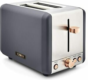Tower T20036RGG Cavaletto 2-Slice Toaster with Defrost/Reheat, Grey/Rose Gold
