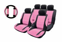 Pink Leather Look Car Seat Covers + Steering wheel for Skoda Fabia All Models