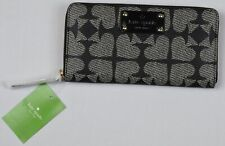 Kate Spade Nedra Black Pebbled Ace Of Spades Zip Around Wallet New