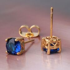 Distinctive sapphire 24k yellow gold filled DASHING chic stud earring