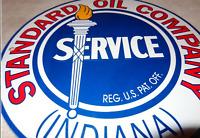 "VINTAGE STANDARD OIL COMPANY INDIANA 11 3/4"" PORCELAIN METAL GAS SIGN PUMP PLATE"