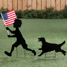 4th of July Patriotic Boy Holding Usa Flag & Dog Shadow Silhouette Garden Stake