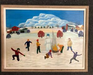 Lawrence Lebduska Oil On Panel.   Winter Children Playing 1956