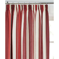 Mali Red Cotton Blend Lined 46x54 Striped Pencil Pleat Curtains #rtsrev *hc*
