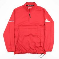 ADIDAS Red 1/4 Zip Pullover Sports Track Lined Jacket Men's Size XL
