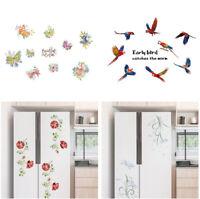 Butterfly Parrot Flower Wall Sticker Refrigerator Cabinet Decal Home Decor