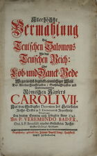 1742 barocco discorso, Karl VII, St. Emmeram in Regensburg