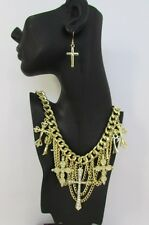 New Women Necklace Earring Gold Multi Strands Chains Crosses Fashion Rhinestones