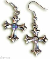 Beautiful - Antiqued Silver & Rhinestone CROSS EARRINGS