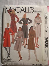 McCall's Women's Dress Pattern# 7638 Size C (10-12-14) Cut-To-Fit 1981