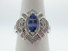 Natural Purple Tanzanite Genuine Diamonds Solid 14K White Gold Ring FREE Sizing