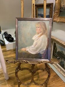 ORIGINAL OIL PAINTING OF HELEN A BEAUTIFUL WOMAN IN A GILT FRAME 20th CENTURY