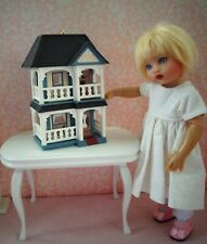 "Miniature white Victorian furnished dollhouse for Riley Kish, Ginny, 7-8"" doll"