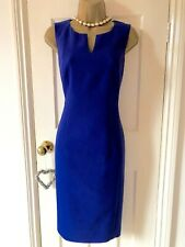 HOBBS Cobalt Blue Occasion Fitted Pencil, Midi Smart Day Dress UK10  Immaculate!