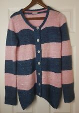 Next Girl Pink/Blue Striped Chunky Sequins Knit Cardigan Jumper Age 15 - 16 Yrs