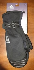 $42 Adidas Warm Touch Screen Running Mittens Cold.Rdy Black Gloves Women's Large