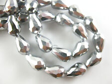 20pcs Silver Plated Glass Crystal Faceted Teardrop Beads 10x15mm Spacer