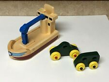 Melissa and Doug Whittle World Cargo Boat 2 Wooden Cars (INCOMPLETE NO FIGURES)