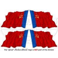 RUSSLAND Russische USSR Soviet SFSR Wehende Flagge, 50mm Vinyl Aufkleber x4