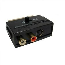 SCART To Twin Phono + SVHS Adaptor With In/Out Switch RCA S-Video GOLD