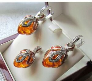 AMBER EARRINGS & PENDANT SET HANDMADE RUSSIAN SOLID STERLING SILVER 925