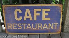 BiG CAFE RESTAURANT SIGN*Primitive/French Country Navy BLUE/Yellow*Kitchen Decor